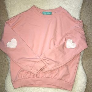Pink Cuffed Heart-Sleeved Embroided Sweatshirt